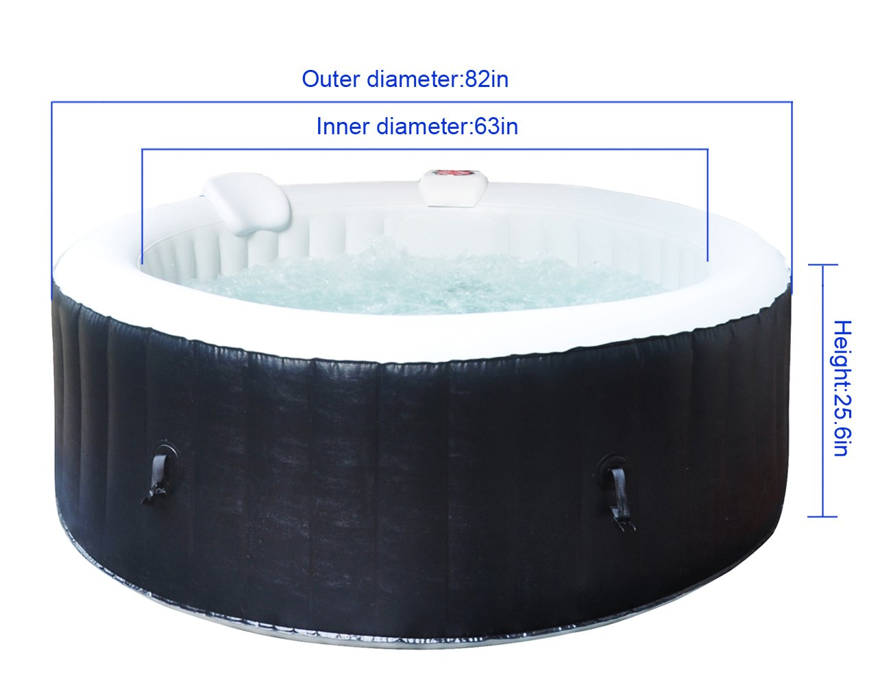 Homax Inflatable 264 Gallons(1000 Liter) SPA 6-Person 130 Air Jets Include Accessories Round Portable Hot Tub SPA Easy Plug N Play, Black/Light Grey