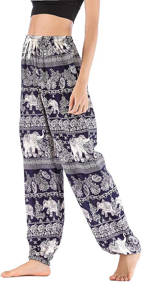 Fansu Pantalones Boho Mujer Verano Casual Harem Yoga Hippies Bohemio Impreso Desgaste Playa Fiesta