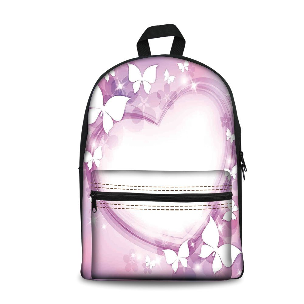 Design the fashion fo Kids Back to School Backpack, Canvas Book Bag,Room Decor,Magical Pink Butterfly Fairy Heart Romantic Love Violet Wedding Themed Girls Art Print.
