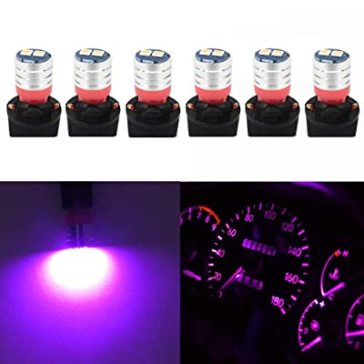 WLJH PC195 PC194 PC168 Instrument Cluster Led Bulbs Lights T10 194 Bulb Twist Locks Socket Base Dash Light Dashboard Panel Gauge Led Super Nice Bright Pink (Pink Purple,Pack of 6): Automotive