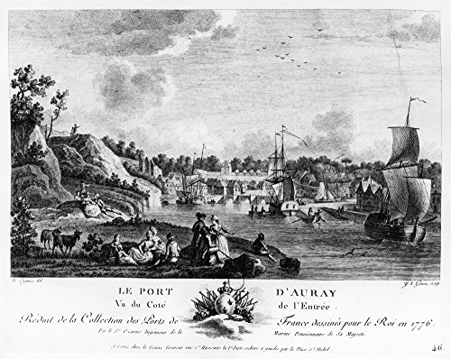 France Auray Harbor 1776 Nthe Harbor Of The Town In Brittany Where Benjamin Franklin Landed On His Arrival In France December 1776 Contemporary French Line Engraving Poster Print by (18 x 24) (Best Towns In Brittany)
