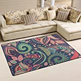 WellLee Area Rug,Bohemian Ornament Flowers Paisley Pattern Floor Rug Non-slip Doormat for Living Dining Dorm Room Bedroom Decor 60x39 Inch