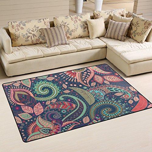 WellLee Area Rug,Bohemian Ornament Flowers Paisley Pattern Floor Rug Non-slip Doormat for Living Dining Dorm Room Bedroom Decor 60x39 Inch