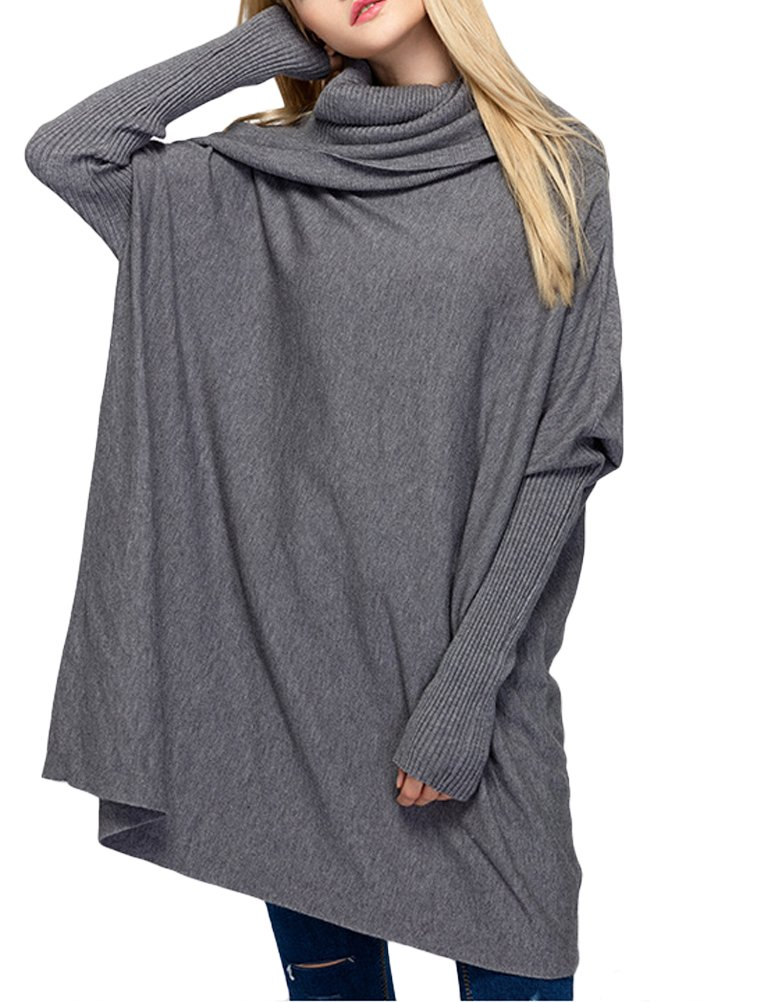 Mordenmiss Women's New Fall Solid Pullover Styling Knit Sweater Style 1 M-Gray