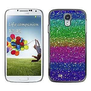 Caucho caso de Shell duro de la cubierta de accesorios de protección BY RAYDREAMMM - Samsung Galaxy S4 I9500 - Purple Pink Green Sparkly Bright