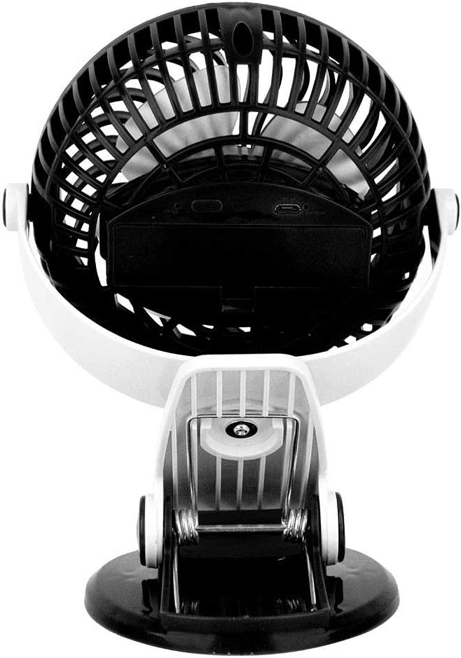 Office Bewinner Portable Mini USB Table Fan 360/° Vertical and Horizontal Rotation Rechargable Battery Black Clip On Desk Mute Fans Ideal for Desktop Outdoors Home Camping