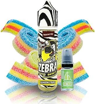 E Liquid Zebra Juice Sweetz Rainbow Strips 50ml - 80vg 20pg - booster shortfill + E Liquid The Boat 10 ml lima limón ...