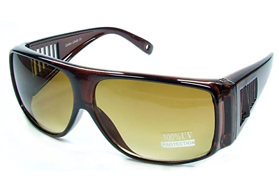 fee3871981c New WEAR OVER Sunglasses Sit Over Prescription Glasses UV400 Protection  Adult Size (crystal brown frame brown lens)  Amazon.co.uk  Clothing