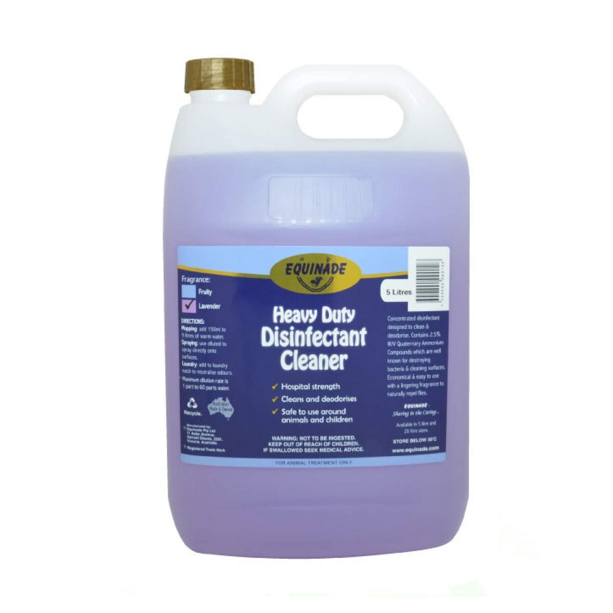 EQUINADE Heavy Duty Disinfectant Cleaner Lavender 20L SPEC ORD (XEHDDL20)