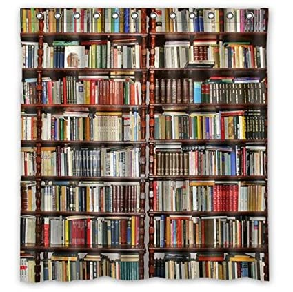 Custom Neat BookshelfLibrary Waterproof Polyester Fabric Bathroom Shower Curtain 66quot