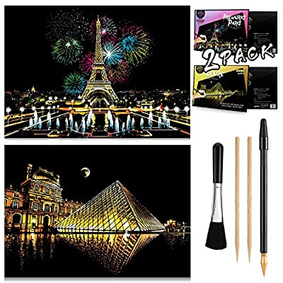 "Scratch & Sketch Art Paper(16""x 11.2"") for Kids & Adults, Rainbow Painting Night View Scratchboard, Painting Gift, Craft Kits : 2 Sheets Scratch Cards & Drawing Pen, Clean Brush (Paris & Louvre): Toys & Games"