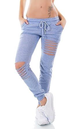 7e4b04127665fc Moderne Damen Freizeithose Sporthose im Destroyed-Style mit Rissen 34 36 38  blau WJ7773 Größe