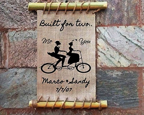 Amazon.com: Burlap Frame Print - Tandem Bike Monogram with Name and ...