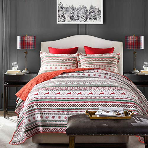 Christmas Elk Cabin Comforter Set, 100% Cotton 3-Pieces Patchwork Bedspread Quilt Set King Size