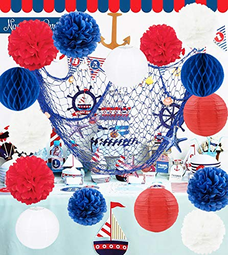 Nautical Party Decorations Navy Fish Net Navy Blue