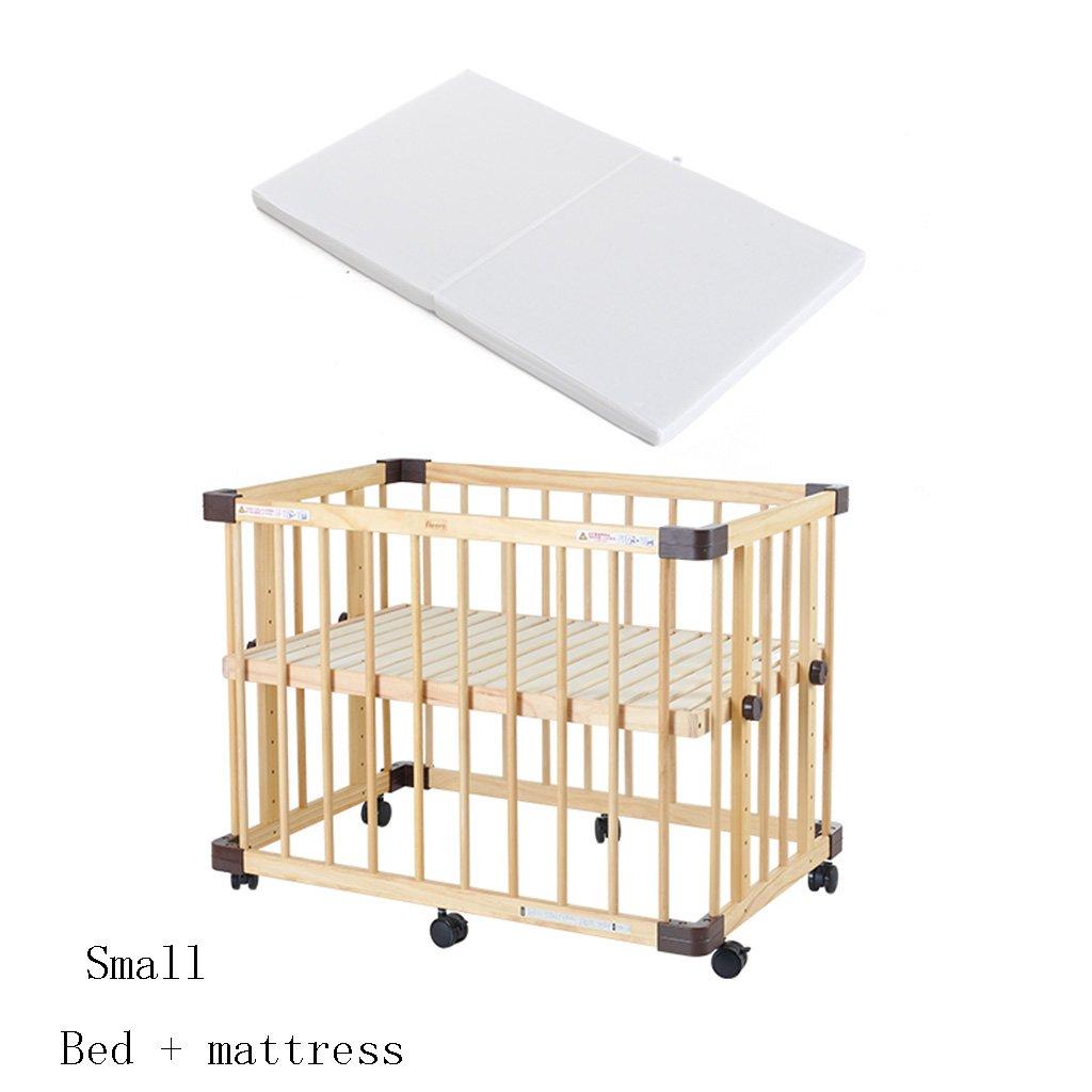 TYJ Kinderbetten Kinderbett Multifunktions Kinderbett Massivholz Umweltschutz Einfache Mode Geschmacklos Keine Farbe Sicherheit Baby Bett Mit Roller Mit Matratze ( größe : S )