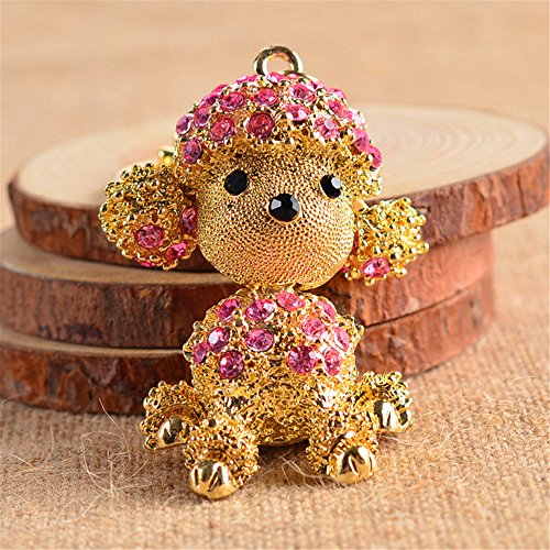 JewelBeauty Cute Dog Rhinestone Poodle Keychain for Puppy Lovers Keyring Purse Pendant Handbag Charm (Pink)