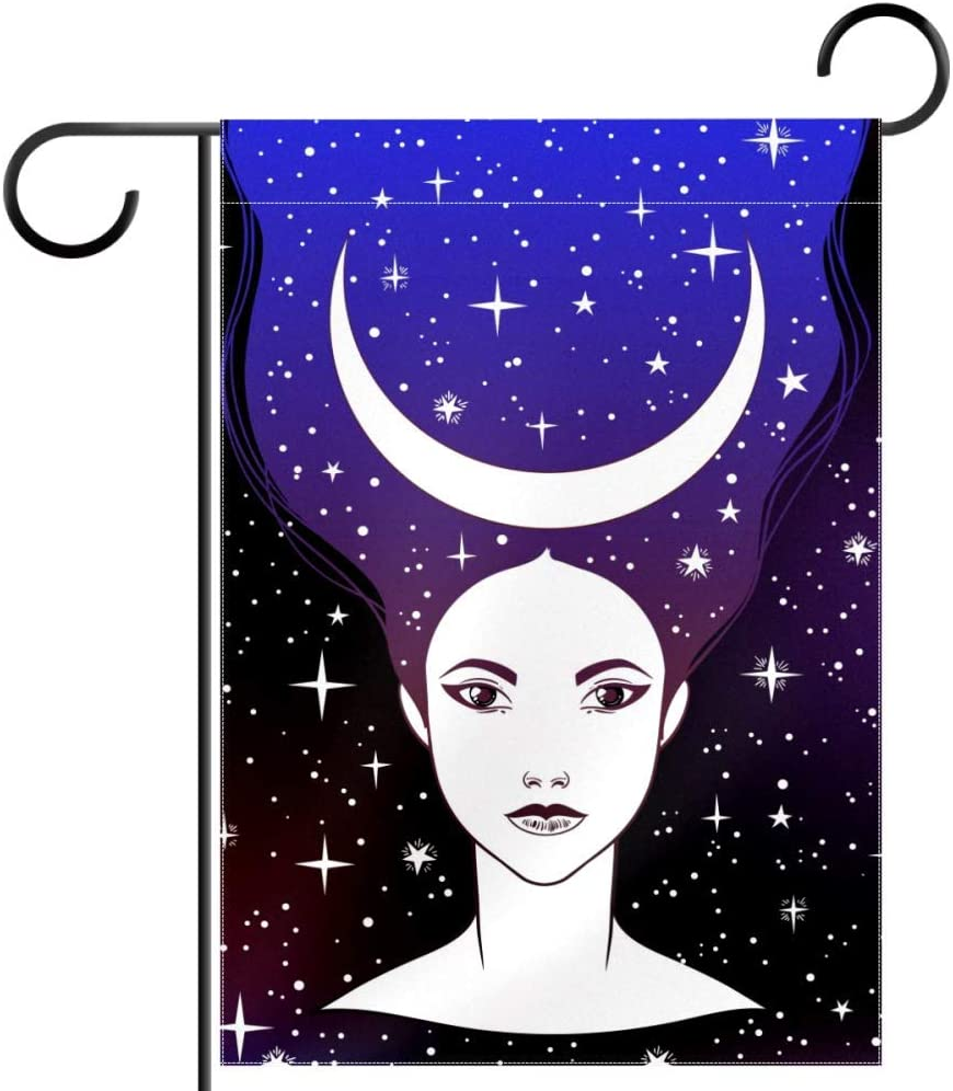 "Lyetny Night Goddess Girl with Moon Crown Lawn Decoration Garden Flag Seasonal Polyester Yard Flag 12""x18"""