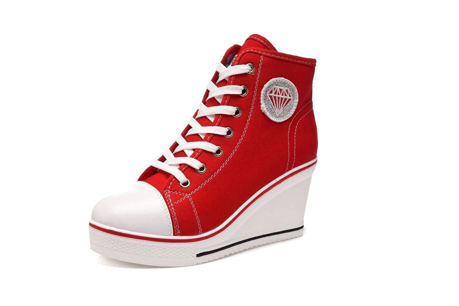 NBWE Taille Femmes Wedge Up Heels Sneakers Toile Chaussures Toile 8cm Raise Chaussures Zipper Lace Up Taille 40-43 Chaussures Casual Red 665956d - conorscully.space