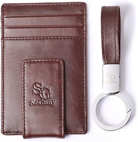 Leather Money Clip Minimalist Wallet - Front Pocket Thin Slim Card Holder RFID