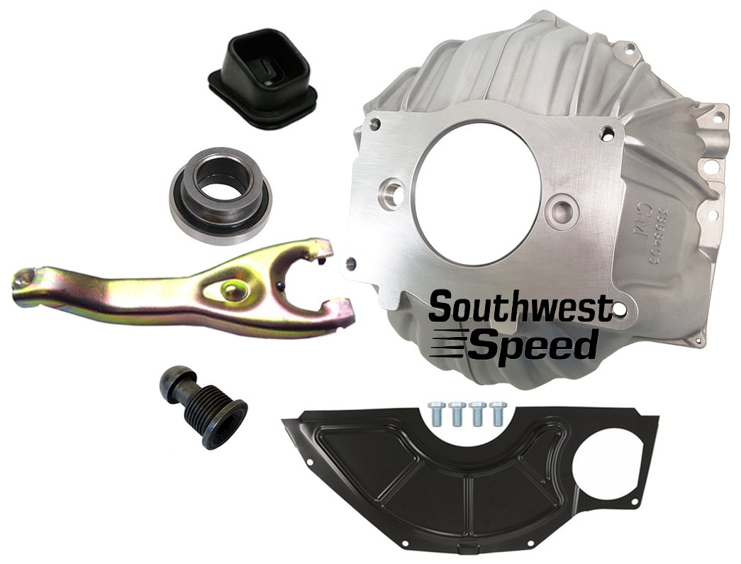 NEW SWS CHEVY 403 ALUMINUM BELLHOUSING, FLYWHEEL INSPECTION COVER, THROWOUT BEARING, CLUTCH FORK, CLUTCH FORK BOOT & PIVOT BALL, STAMPED WITH #GM 3858403, FOR SBC & BBC 10.5'' MANUAL CLUTCH