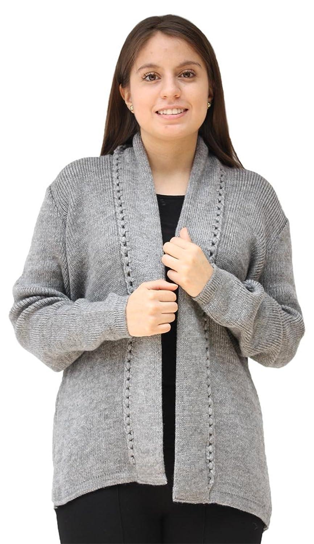Womens Alpaca Wool Open Coat Sweater Jacket Crochet Edge Knitted Size M