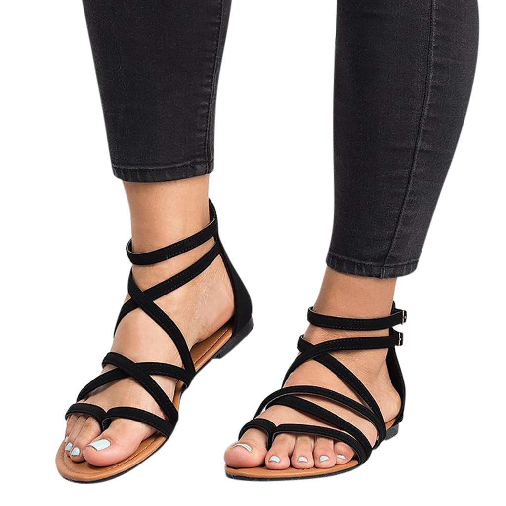 Women's Plus Size Casual Roma Flats Sandals Solid Open Toe Outdoors Beach Slippers Zip Flat Bandage Shoes[2019 (Black, 8 M US)