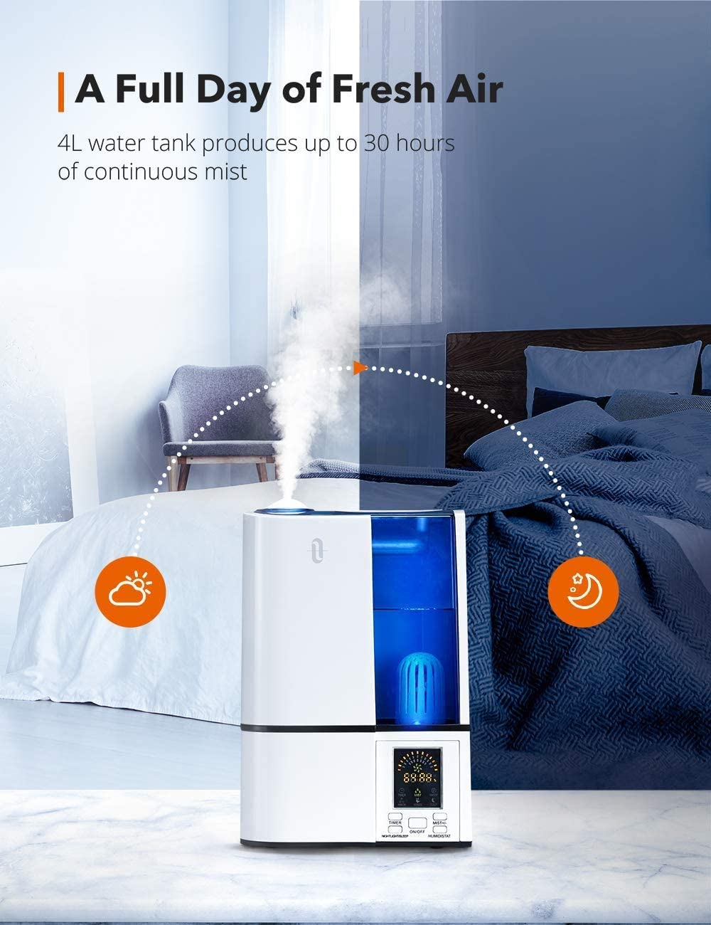 TaoTronics Humidifiers, 4L Cool Mist Ultrasonic Humidifier for Bedroom Home Large Room Baby Room, Quiet Operation, LED Display with Humidistat,
