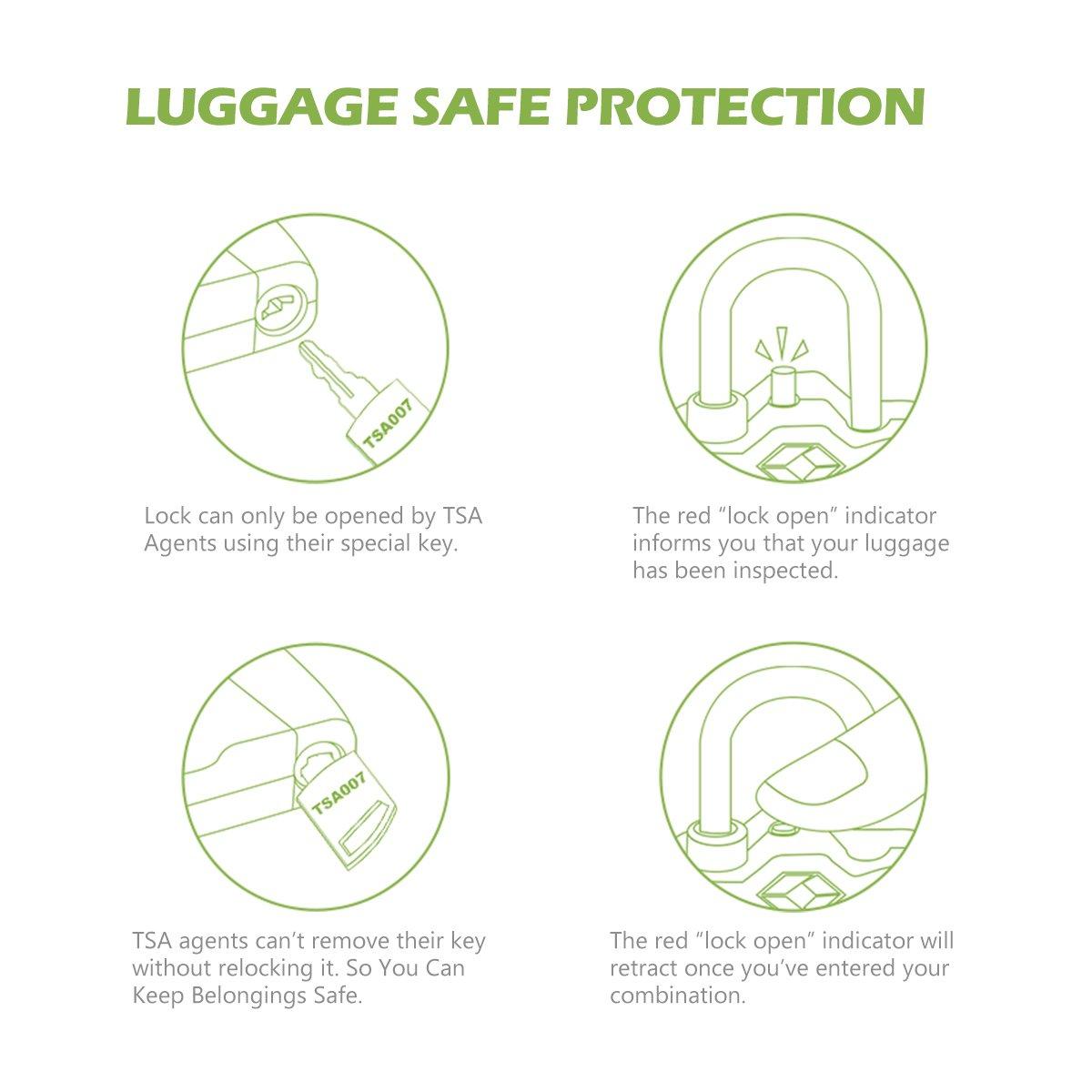KeeKit Combination Locks, TSA Approved Luggage Locks with Open Alert Indicator, TSA Luggage Locks for Travel, Suitcase, Baggage & Backpack, Gym Locker (Black, 2 Pack) by KeeKit (Image #6)