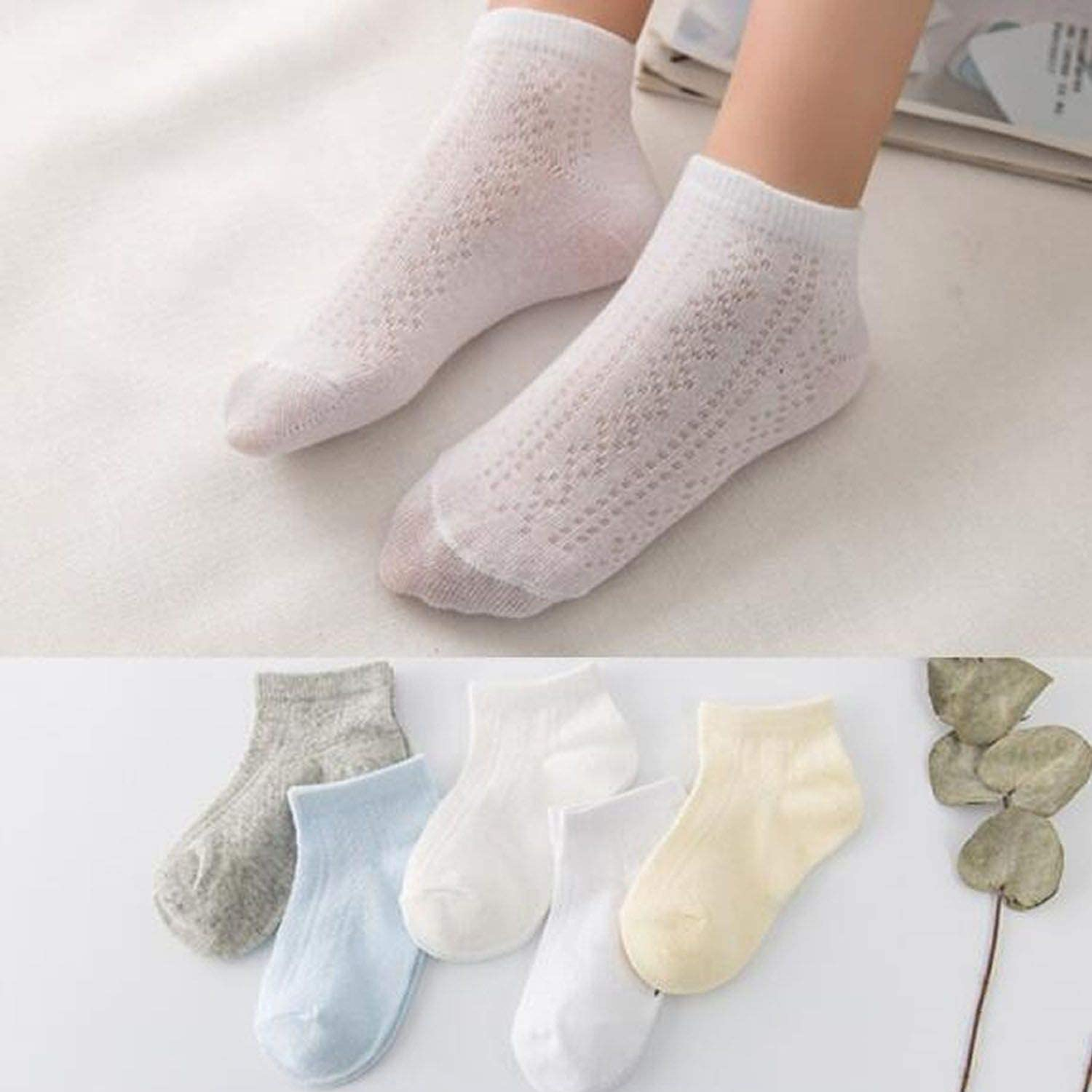 6 Pairs Toddler Baby Boys Girls Socks Solid Cotton Summer Breathable Soft Ankle Socks