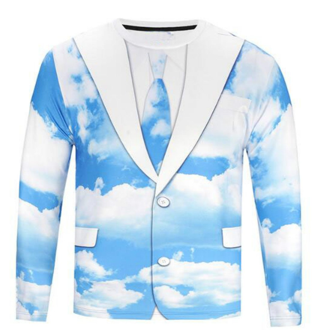Colygamala Men's Casual Printed Suit & Tie Tuxedo Long Sleeve T-Shirt 5Color