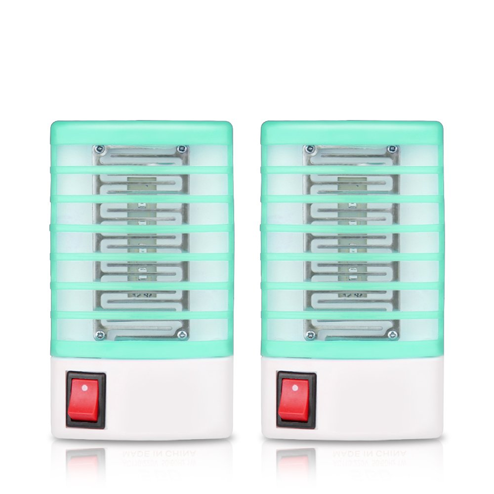 ALLOMN Electric 2pcs Mosquito Killer Lamp Insect Pest Bug Zapper Repeller Non-Toxic LED Mosquito Trap No Radiation Plug in Mini Blue Night Light AC 110-220V for Indoor Outdoor Use (Black)