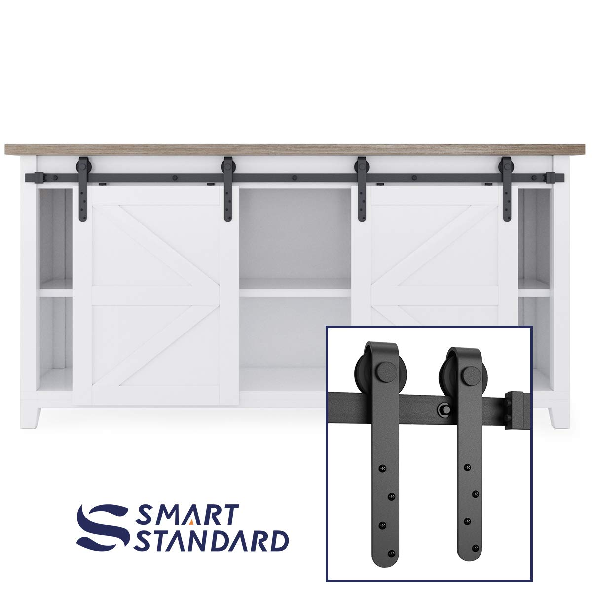 6ft Double Door Cabinet Barn Door Hardware Kit- Mini Sliding Door Hardware - for Cabinet TV Stand-Simple and Easy to Install - Fit 24'' Wide Door Panel (Cabinet Not Included) (Mini J Longer Hangers)