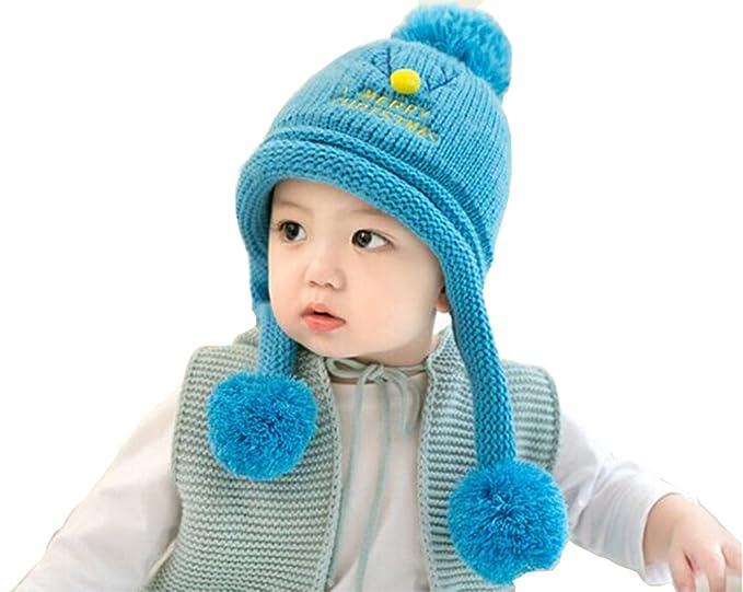 a395388b030 Toddler Baby Kids Knit Hats Merry Christmas Print Hat Winter Warm Earflap Hat  Crochet Beanie Cap