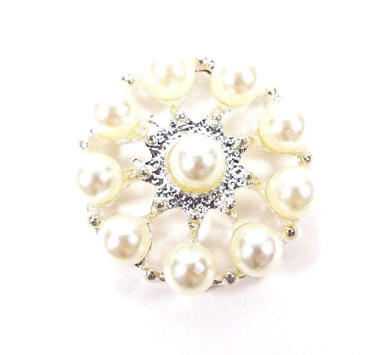 5x Diamante Crystal White Pearl Round Button Flatback Embellishment 25mm