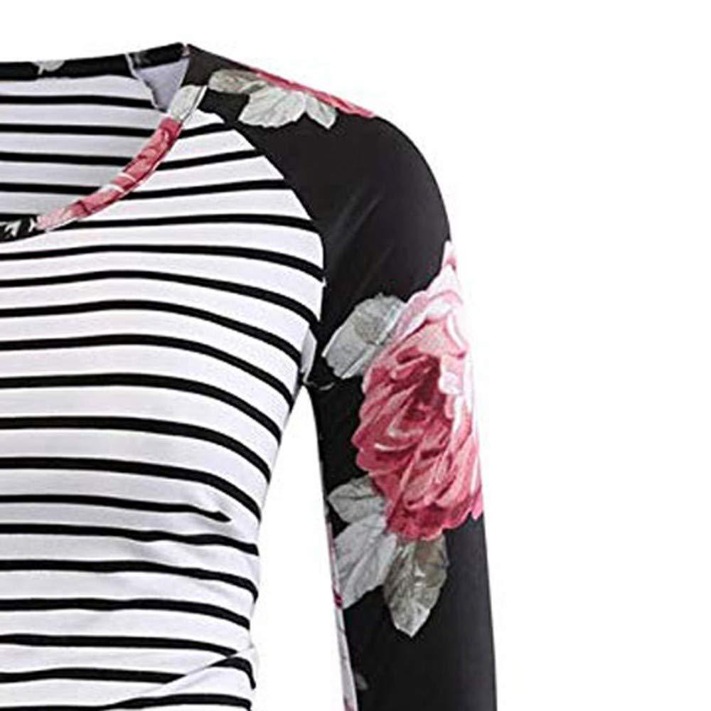 Gestreift Frauen Oberteile Tunika Top Umstandskleidung Schwangerschaft Mutterschaft T-Shirt Damen Lange /Ärmel Nursing Tops Umstandsshirt Umstandstop