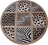 Zebra Safari Giraffe Leopard Skin Mix Woven 6x6 Area Rug Beige Hand Carving Luster Glose Finish