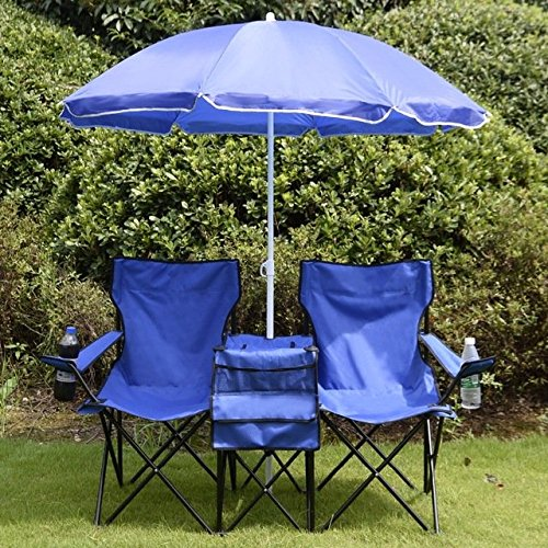 Price comparison product image Portable Folding Picnic Double Chair W / Umbrella Table Cooler Beach Camping Chair OP2647