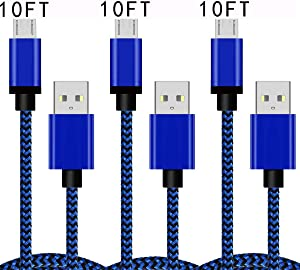 Micro USB Charging Cable 10FT 3Pack Fast Android Charger Cord Rapid Compatible for Samsung Galaxy J7 S7 J3 S6 Edge Note 5 LG Stylo 2/3 G3 G4 V10 K20 K30 Plus Motorola Moto E4 E5 G4 G5