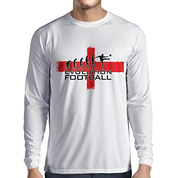 lepni.me Camiseta de Manga Larga para Hombre La evolución de fútbol - Inglaterra,