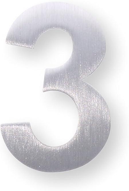 Nombre de m/étal 1 porte /étiquette//Paragraphe mural num/éro/ /Hauteur 4/cm /étiquette acier inoxydable bross/é/ /Autocollant
