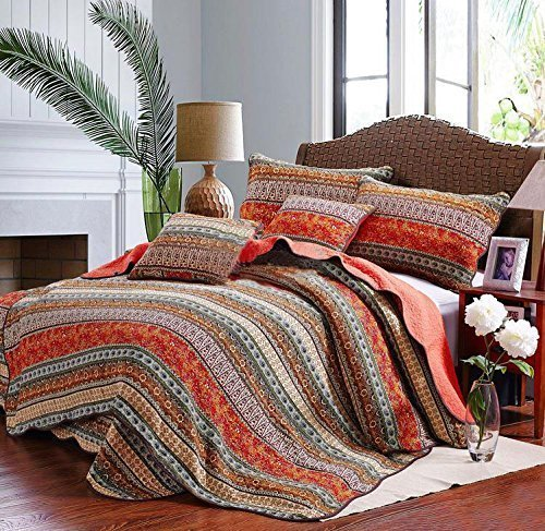Best Striped Classical Cotton 3-Piece Patchwork Bedspread Quilt Sets Queen (Bright Bedding Colored Sets)