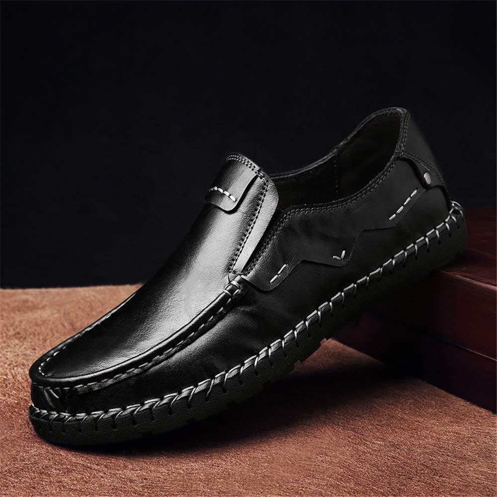 Qiusa  Herren Casual Breathable Breathable Breathable Formale Geschäft handgemachte echte Leder Loafers (Farbe : Schwarz, Größe : EU 42) Schwarz 01c9ae
