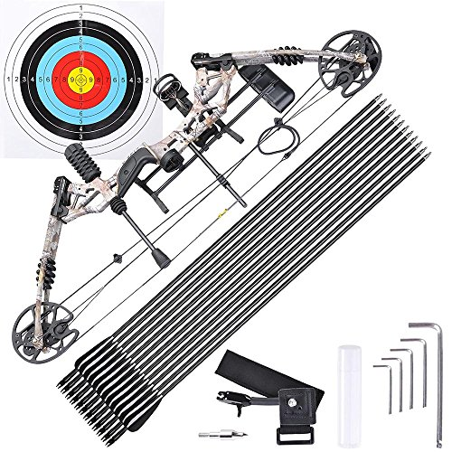 - AW Pro Compound Right Hand Bow Kit w/ 12pcs Carbon Arrow Adjustable 20 to 70lbs Archery Set Camo