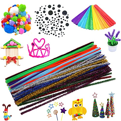 Craft Supplies Pipe Cleaners Set, Including 200 Pcs 10 Colors Chenille Stems, 150 Pcs 3 Size Wiggle Googly Eyes, 200 Pcs Pom Poms and 50 Pcs Craft Sticks for DIY -