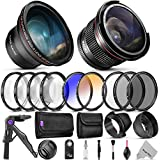 Professional 58MM Lens & Filter Bundle for Canon – Complete DSLR / Mirrorless Camera Accessory Kit – Wide Angle & Fisheye Lens, Filters Kit (Macro Close-Up Set, UV, CPL, ND4, Color) Mini Tripod & More