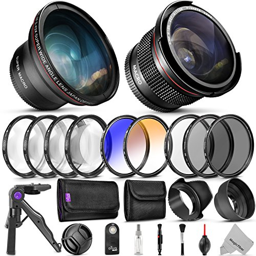 Professional 58MM Lens & Filter Bundle for Canon – Complete DSLR / Mirrorless Camera Accessory Kit – Wide Angle & Fisheye Lens, Filters Kit (Macro Close-Up Set, UV, CPL, ND4, Color) Mini Tripod & More from Goja