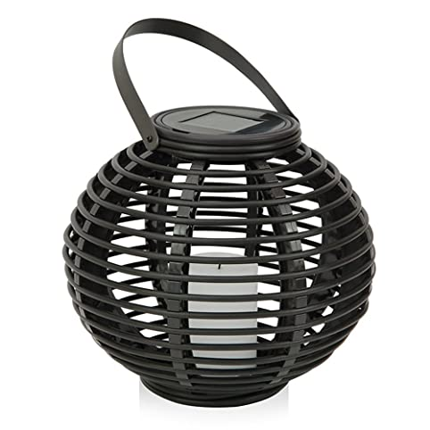 Outdoor Decorative Solar Powered Candle Lantern With Flickering Amber LED  Rattan Light For Garden, Park