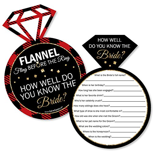 Flannel Fling Before The Ring - Buffalo Plaid Bachelorette Party Game - How Well Do You Know The Bride Game - Set of 20