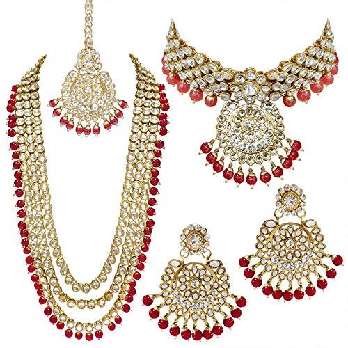 Aheli Indian Traditional Wedding Bridal Necklace Earrings Mangtika Jewelry Set in Faux Kundan Beads